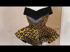 How to Make Off Shoulders V Neck Cape Blouse with 720 Degree Layered Peplum Short African Dresses, African Blouses, Latest African Fashion Dresses, African Print Dresses, African Print Fashion, Ankara Fashion, Africa Fashion, African Prints, African Fabric