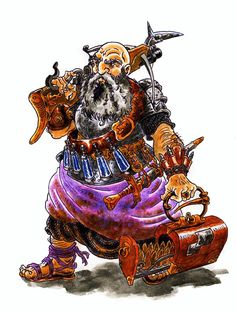 DANIELE DE CRESCENZO  Character Design. Dwarf Warrior. Water color and ink.