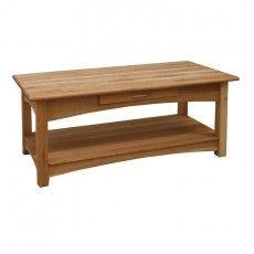 Modern Solid Brooklyn Oak Coffee Table with 1 Drawer and Bottom Shelf Coffee Table With Drawers, Oak Coffee Table, House Furniture Design, House Design, Solid Oak Furniture, White Oak, Dining Bench, Shelves, Brooklyn