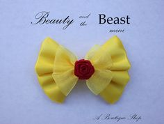 beauty and the beast mini hair bow by abowtiqueshop on Etsy, $3.50