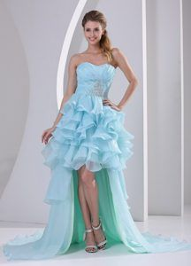 Light Blue High-low Prom Homecoming Dress with Beading Ruche and Ruffles