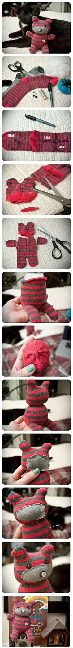 #KatieSheaDesign ♡❤ ❥▶ DIY Cute Little Teddy Bear. Cuter cat! :D by amayaa