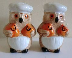 VINTAGE Ceramic OWL Salt and Pepper SHAKERS by BabylonSisters, etsy