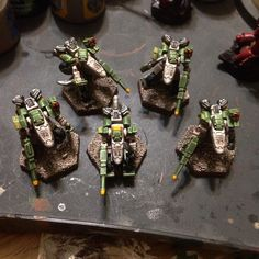 NuCoal Jerboa Scout Gear squad painted in my Humanist Alliance colours.  Heavy Gear Blitz by Dream Pod 9.  Painting by Steel Paladin / jdmlouis
