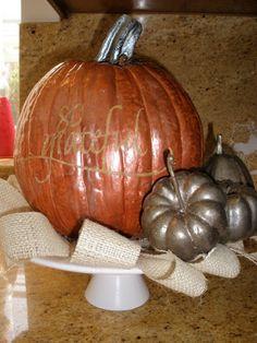 glass candlestick,old plate & fake pumpkin- all painted to make arrangement Fake Pumpkins, Dollar Tree Pumpkins, Glitter Pumpkins, Old Plates, Pedestal Stand, Holiday Boutique, Glass Candlesticks, Make Arrangements, Pumpkin Carving