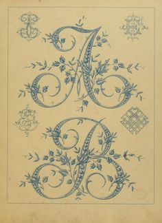 Floral initial letters for embroidering onto linen taken from...