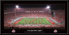 "Ohio State Buckeyes Football-Pictures-Quotes-Frames-Posters-All With OSU Logo-Ohio Stadium Pictures-The Horseshoe ""The Shoe"" Pictures And Photographs. NCAA College Stadium Framed Pictures.Scarlet And Gray OSU Photos. Ohio State Buckeyes Football Sports Panorama Photo.Sports Art.-  Quad Script Ohio 2010 performed by The Ohio State Marching Band and Alumni Band under the lights, September, 2010. A Script Ohio Night home opener."