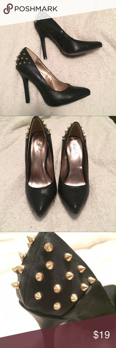 Spiked heels Worn twice, perfect condition and easy to walk in! Heel looks about 2.5 inches. So cute and edgy :) from pacsun, brand is qupid. Qupid Shoes Heels