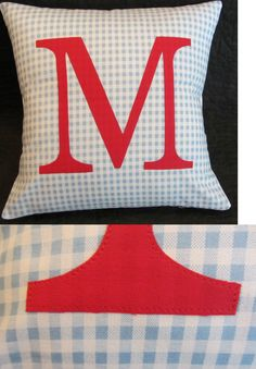 Decorative Nursery Pillow Boys Kids Personalized Blue and Red Check . Letter Cushion, Cushions, Pillows, Initial Letters, Pillow Talk, Kids Boys, Pillow Covers, Initials, Applique