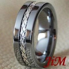 BLACK & SILVER $90 Men's Tungsten Ring Silver Inlay Wedding Band Titanium Color Jewelry Size 6-15
