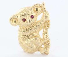 Vintage 14k Yellow Gold Ruby Koala Bear Pin Brooch Fine Estate Jewelry Pre-Owned $695