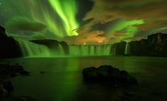 """National Geographic Your Shot on Instagram: """"Photo by Talal al Rabah @talal92 / The northern lights appear over the Goðafoss waterfall in Iceland. #YourShotPhotographer"""""""