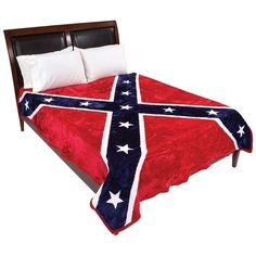 Confederate - Rebel Flag Blanket Fits King Or Queen Bed