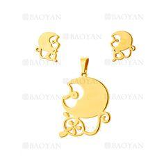 juego colgante y aretes de mono especial en acero dorado inoxidable -SSSTG954248