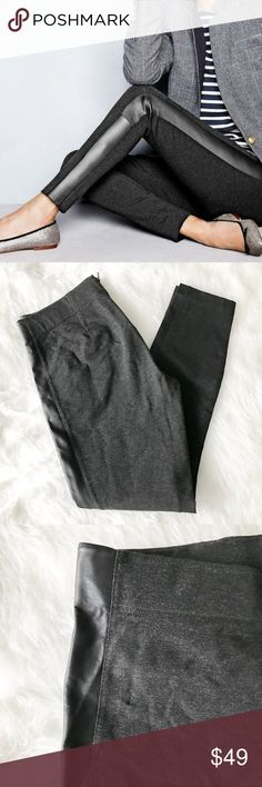 J. Crew Leather Stripe Gigi Pant - Grey Comfy yet chic skinny pants from J. Crew Factory. Gigi pants are the factory version of the retail 'Pixie Pant.' The stretchy, thick ponté is very slimming and comfortable, and the leather stripe down each side adds a unique touch. Size 8, but can fit sizes 6 through 10 due to the stretch. Dark heather grey with black stripe. Like-new condition. J. Crew Pants Skinny
