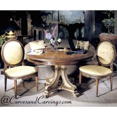 Curves & Carvings Signature Collection Dining Table Set - C&C DTC0038