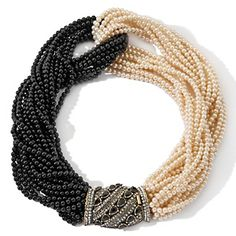 """Heidi Daus """"A New Twist"""" Black and White Torsade 18"""" Necklace"""