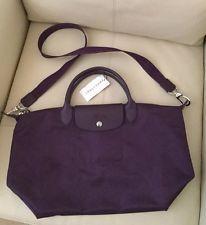 NWT longchamp neo le pliage medium purple tote with crossbody strap