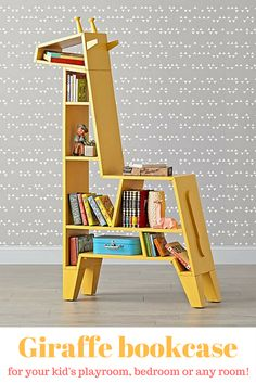 Giraffe bookcase to organize your kids books, toys and crafts. Use it in any room, it will look awesome wherever you place it. #books #kids #kidsdecor #yellowgiraffe #style #ad