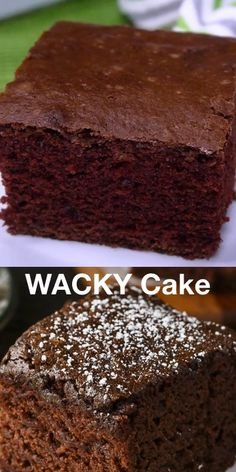 Wacky Cake - Moist chocolatey and easy to make This vintage cake was popular in the Depression era and contains no butter milk or eggs cake chocolatecake Wacky Cake Recipe, Crazy Cake Recipes, Brownie Recipe Video, Homemade Cake Recipes, Crazy Cakes, Baking Recipes, Dessert Recipes, Eggless Cake Recipe Video, One Egg Cake Recipe