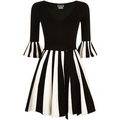 Boutique Moschino Striped Hem Dress ($580) ❤ liked on Polyvore featuring dresses, boutique moschino, graphic dress, flutter-sleeve dress, striped a line dress and a line dress