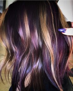 """purple and brown """"peanut butter and jelly hair"""" Instagram."""