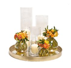 Amber Glass Domain Vases with Orange Ranunculus on a Moroccan Gold Tray