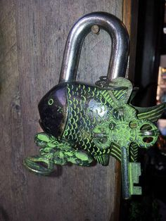 Brass Door Pad Lock Antique Engraved Fish Figure Heavy Vintage