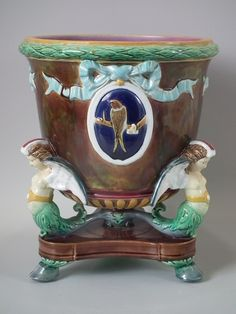 Holdcroft Majolica winged mermaid jardiniere | ID#18408 | Madelena