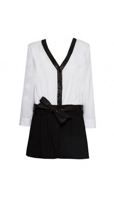 Alice and Olivia V-neck Romper with Leather detail