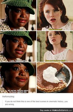 The Help. One of the best scenes not only in the movie but like in the last 20 years Iconic Movies, Great Movies, Funny Memes, Hilarious, Jokes, Movies Showing, Movies And Tv Shows, Favorite Movie Quotes, College Humor