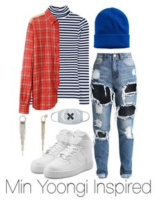 """""""Support the boys ~Suga Inspired"""" by blo0d-and-roses on Polyvore featuring Mudd, Junya Watanabe, NIKE and BERRICLE"""