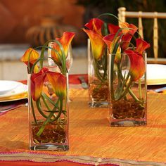 Love this idea for cocktail table arrangements.  It's a nice Fall design for a corporate event.