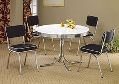 Round Retro Dining Table w/ 4 Black Side Chairs, /category/dining-room/round-retro-dining-table-w-4-black-side-chairs-2.html