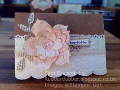 Rubberdubber! - vintage flower card by Sam Bracegirdle, Independent Stampin' Up! demonstrator Flower Frenzy Bigz die, Large Scallop & Finishing Touches edgelits dies, Delicate Designs embossing folder, Modern Label & Word Window punches, Something Lacy stamp