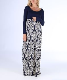 Look at this PinkBlush Maternity Navy Damask Maternity Maxi Dress on #zulily today!