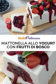 La mattonella allo yogurt con frutti di bosco è un dolce semifreddo cremoso e delicato, con un cuore di frutti rossi avvolto in un morbido strato di yogurt greco e una base di biscotto. #semifreddo #icecream #mirtilli #lamponi #fragole #yogurt #frozenyogurt #dessert #dolci #strawberry #blueberry #raspberry [easy and soft frozen yogurt with strawberries]