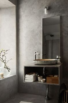 A beautiful concrete grey bathroom | stilinspiration | Bloglovin'