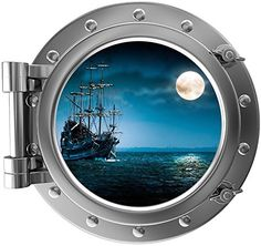 12 Port Scape Instant Sea Window View SHIP in MOONLIGHT 1 Pirate SILVER Porthole Wall Sticker Graphic Decal Home Kids Game Room Art Decor NEW >>> This is an Amazon Affiliate link. Continue to the product at the image link.