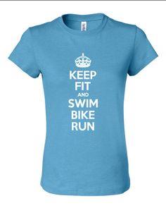 Keep Fit and Swim Bike Run Triathlon Tshirt by familyfanclub, $20.00