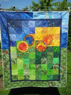 Sonnenblumen / 41 Restequilt Nr. 41/2010 maschinengenäht von Batik-Junkie und handgequiltet von Newyorkbeauty ca. 110 x 130