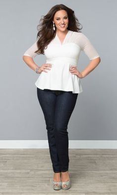 Plus Size Peplum Mesh Top (Pair w a black pencil skirt with bold sparkly accessories for a holiday party)