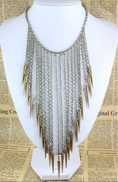 Hot Gothic Punk Rock Jewelry Bronze Spike Rivet Long Chain Tassels