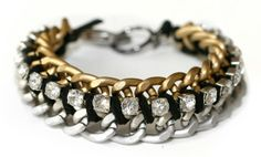 the good stuff: DIY gold silver and rhinestone BRACELETS