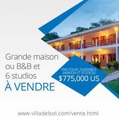 A vendre: Grande maison ou B&B et 6 studios, grand terrain a seulement 150 M de la plage  Playa Del Coco, Guanacaste, Costa Rica    Situé à seulement 150 mètres de la plage et à courte distance du centre du village. 25 minutes de l'aéroport international de Liberia. Le terrain a un acre (4.550 m2) et les constructions 725M2. La grande maison peut être utilisée comme résidence ou B&B, en plus il y a six studios équipés d'une cuisine. La maison/B&B peut être vendue séparément. B & B, Construction, Liberia, Costa Rica, Comme, Acre, Distance, Studios, International Airport