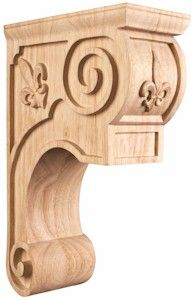 CORTF Carved Wood Corbel with Fleur De Lis and Scroll