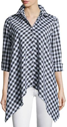 Go Silk Drama Gingham Handkerchief Shirt, Plus Size Fashion Sewing, Muslim Fashion, Vintage Denim, Blouse Designs, Shirt Blouses, Plus Size Outfits, Plus Size Fashion, Long Sleeve Shirts, Loose Shirts