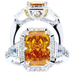 "Platinum ring featuring a rare, 3.16-carat, radiant orange diamond, dubbed ""Here Comes the Sun"""