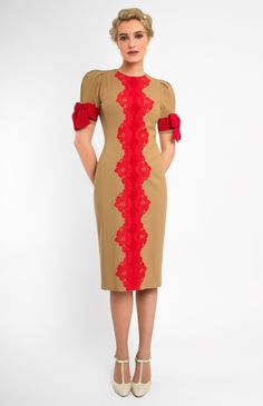 Slim-fit true wool dress with handmade lace finish. Round neck. Balloon sleeves with ribbon bows. Hidden back zip closure. Without pockets. #Pintel #work #cocktail #dress #cute #pretty #camel #red #bow #ribbon #midi #style