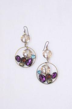 Large crystal earrings dangle gem by StarsonMarsJewelryCo on Etsy